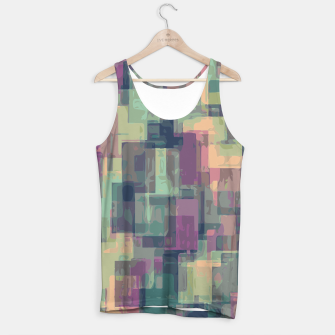 psychedelic geometric square pattern abstract in pink and green Tank Top obraz miniatury