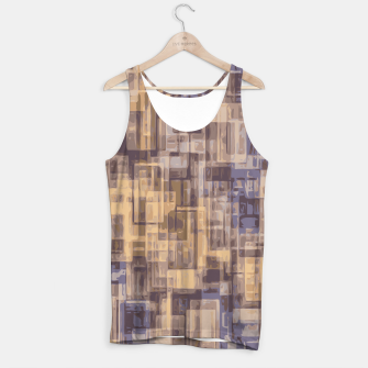 psychedelic geometric square pattern abstract in brown and blue Tank Top obraz miniatury