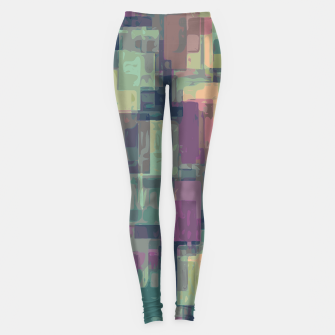 psychedelic geometric square pattern abstract in pink and green Leggings obraz miniatury