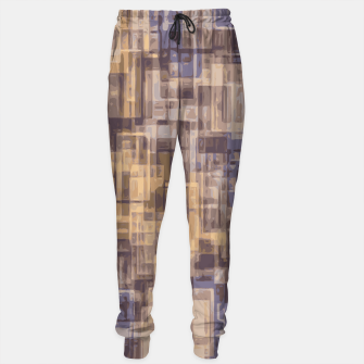 psychedelic geometric square pattern abstract in brown and blue Sweatpants obraz miniatury