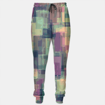 psychedelic geometric square pattern abstract in pink and green Sweatpants obraz miniatury