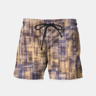 psychedelic geometric square pattern abstract in brown and blue Swim Shorts obraz miniatury