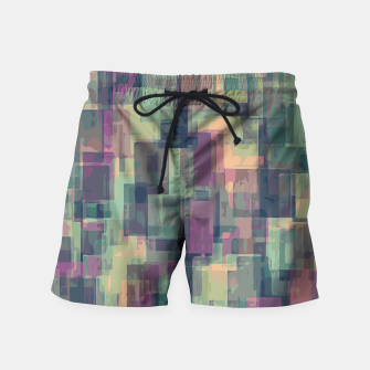 psychedelic geometric square pattern abstract in pink and green Swim Shorts obraz miniatury