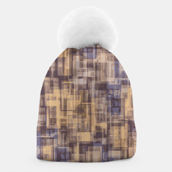 psychedelic geometric square pattern abstract in brown and blue Beanie Bild der Miniatur