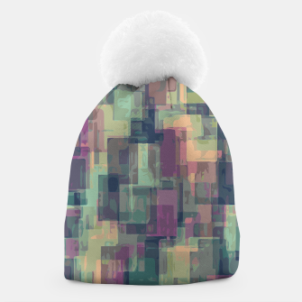 psychedelic geometric square pattern abstract in pink and green Beanie obraz miniatury
