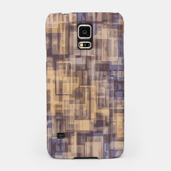 psychedelic geometric square pattern abstract in brown and blue Samsung Case obraz miniatury
