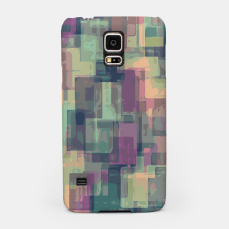 psychedelic geometric square pattern abstract in pink and green Samsung Case obraz miniatury