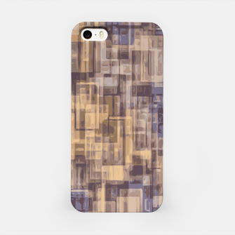 psychedelic geometric square pattern abstract in brown and blue iPhone Case obraz miniatury