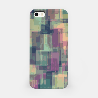 psychedelic geometric square pattern abstract in pink and green iPhone Case obraz miniatury