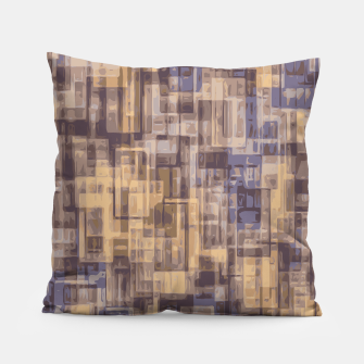 psychedelic geometric square pattern abstract in brown and blue Pillow obraz miniatury