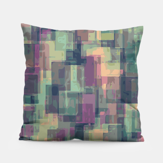 psychedelic geometric square pattern abstract in pink and green Pillow obraz miniatury