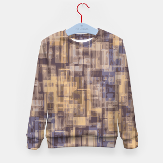psychedelic geometric square pattern abstract in brown and blue Kid's Sweater obraz miniatury