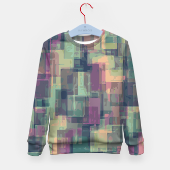 psychedelic geometric square pattern abstract in pink and green Kid's Sweater obraz miniatury