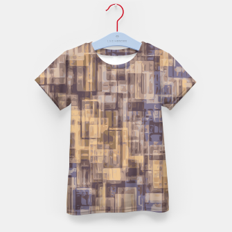 psychedelic geometric square pattern abstract in brown and blue Kid's T-shirt obraz miniatury