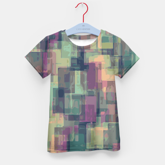 psychedelic geometric square pattern abstract in pink and green Kid's T-shirt obraz miniatury