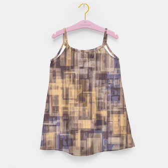 psychedelic geometric square pattern abstract in brown and blue Girl's Dress obraz miniatury