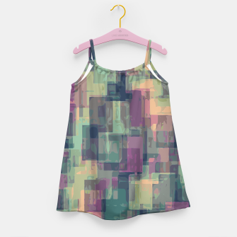 psychedelic geometric square pattern abstract in pink and green Girl's Dress obraz miniatury