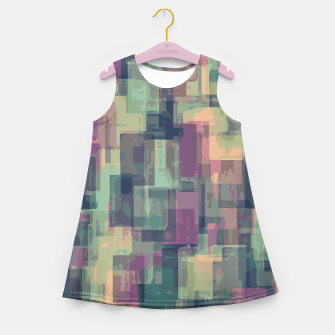 psychedelic geometric square pattern abstract in pink and green Girl's Summer Dress obraz miniatury