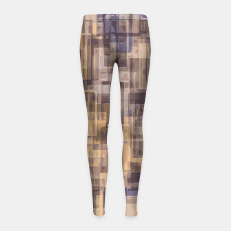 psychedelic geometric square pattern abstract in brown and blue Girl's Leggings obraz miniatury