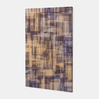 psychedelic geometric square pattern abstract in brown and blue Canvas Bild der Miniatur