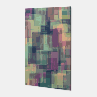 psychedelic geometric square pattern abstract in pink and green Canvas obraz miniatury