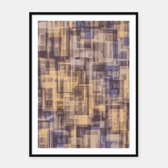 psychedelic geometric square pattern abstract in brown and blue Framed poster obraz miniatury