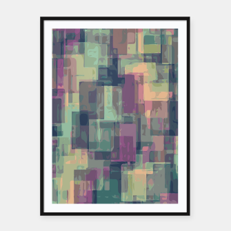 psychedelic geometric square pattern abstract in pink and green Framed poster obraz miniatury