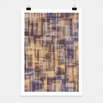 psychedelic geometric square pattern abstract in brown and blue Poster obraz miniatury