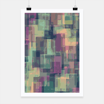 psychedelic geometric square pattern abstract in pink and green Poster obraz miniatury