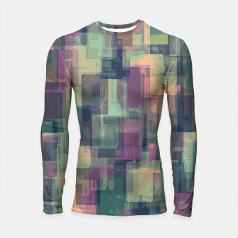 psychedelic geometric square pattern abstract in pink and green Longsleeve Rashguard  obraz miniatury
