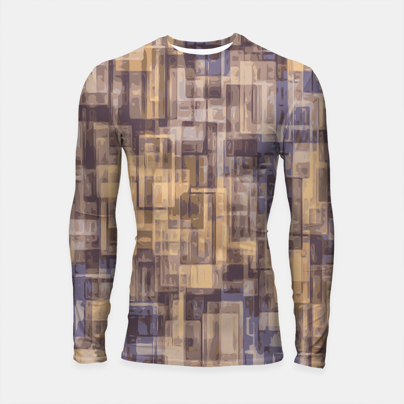 Foto psychedelic geometric square pattern abstract in brown and blue Longsleeve Rashguard  - Live Heroes