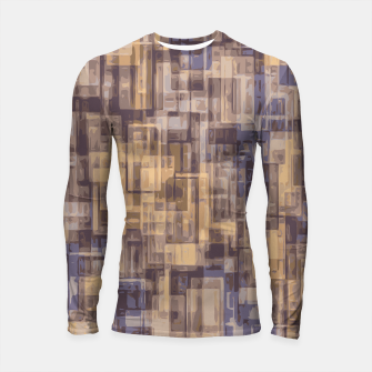 psychedelic geometric square pattern abstract in brown and blue Longsleeve Rashguard  obraz miniatury