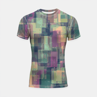 psychedelic geometric square pattern abstract in pink and green Shortsleeve Rashguard obraz miniatury