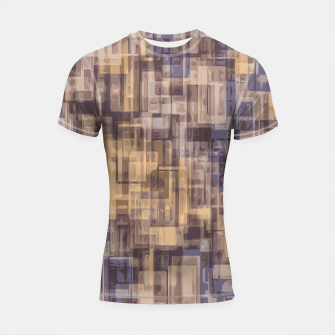 psychedelic geometric square pattern abstract in brown and blue Shortsleeve Rashguard Bild der Miniatur