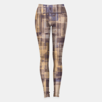 psychedelic geometric square pattern abstract in brown and blue Leggings obraz miniatury
