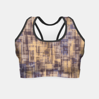 psychedelic geometric square pattern abstract in brown and blue Crop Top obraz miniatury