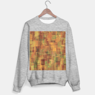 vintage psychedelic geometric square pattern abstract in brown and green Sweater regular obraz miniatury