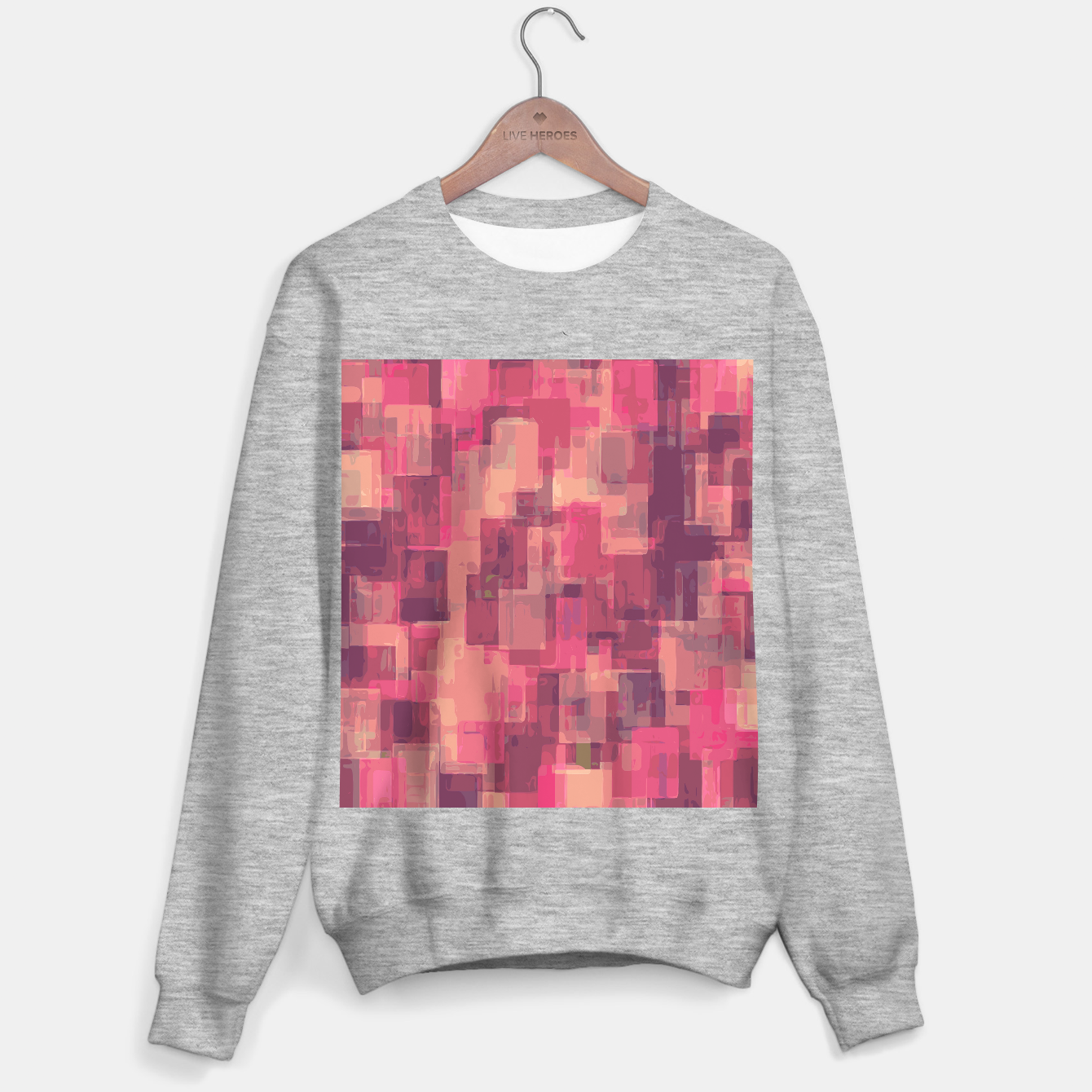 Zdjęcie psychedelic geometric square pattern abstract in pink and purple Sweater regular - Live Heroes