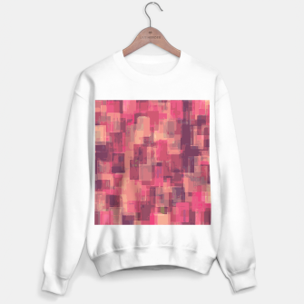 psychedelic geometric square pattern abstract in pink and purple Sweater regular obraz miniatury