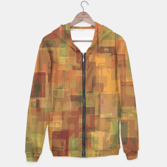 vintage psychedelic geometric square pattern abstract in brown and green Hoodie obraz miniatury