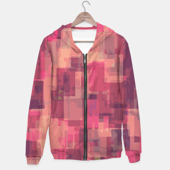 psychedelic geometric square pattern abstract in pink and purple Hoodie obraz miniatury