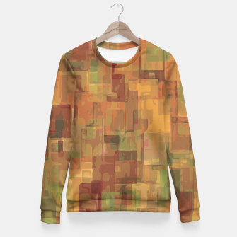 vintage psychedelic geometric square pattern abstract in brown and green Fitted Waist Sweater obraz miniatury