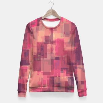 psychedelic geometric square pattern abstract in pink and purple Fitted Waist Sweater obraz miniatury