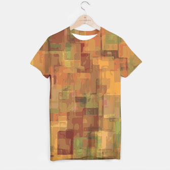 vintage psychedelic geometric square pattern abstract in brown and green T-shirt obraz miniatury