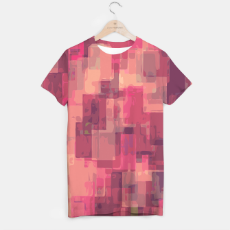 psychedelic geometric square pattern abstract in pink and purple T-shirt obraz miniatury