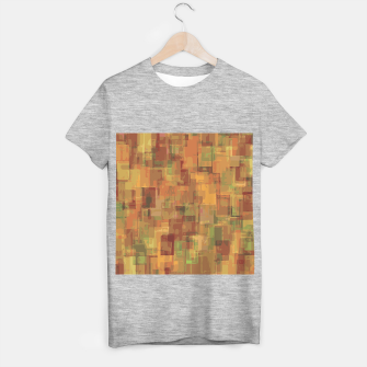 vintage psychedelic geometric square pattern abstract in brown and green T-shirt regular obraz miniatury