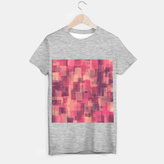psychedelic geometric square pattern abstract in pink and purple T-shirt regular obraz miniatury