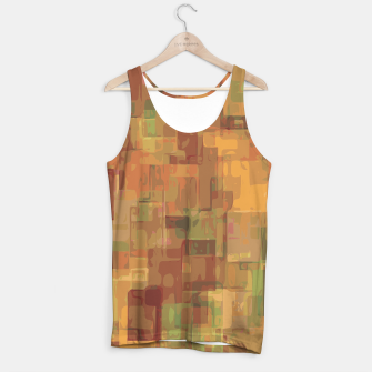 vintage psychedelic geometric square pattern abstract in brown and green Tank Top obraz miniatury