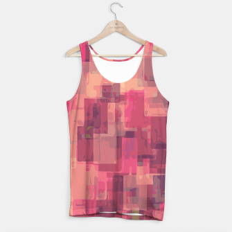 psychedelic geometric square pattern abstract in pink and purple Tank Top obraz miniatury