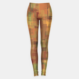 vintage psychedelic geometric square pattern abstract in brown and green Leggings obraz miniatury